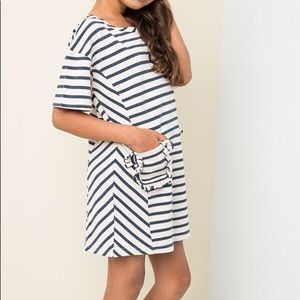 Hayden Striped French Terry Pocket Dress